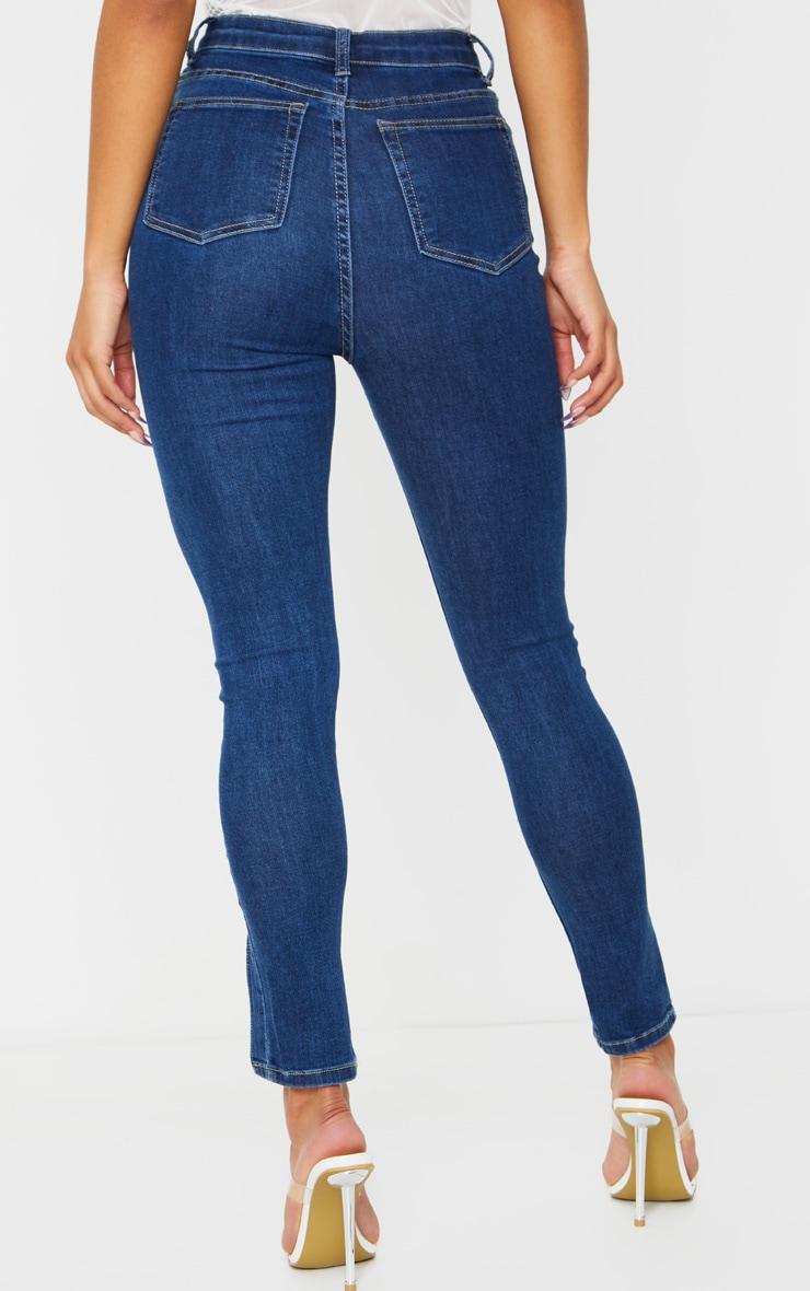Mid Blue Wash Front Split Hem Skinny Jeans 3