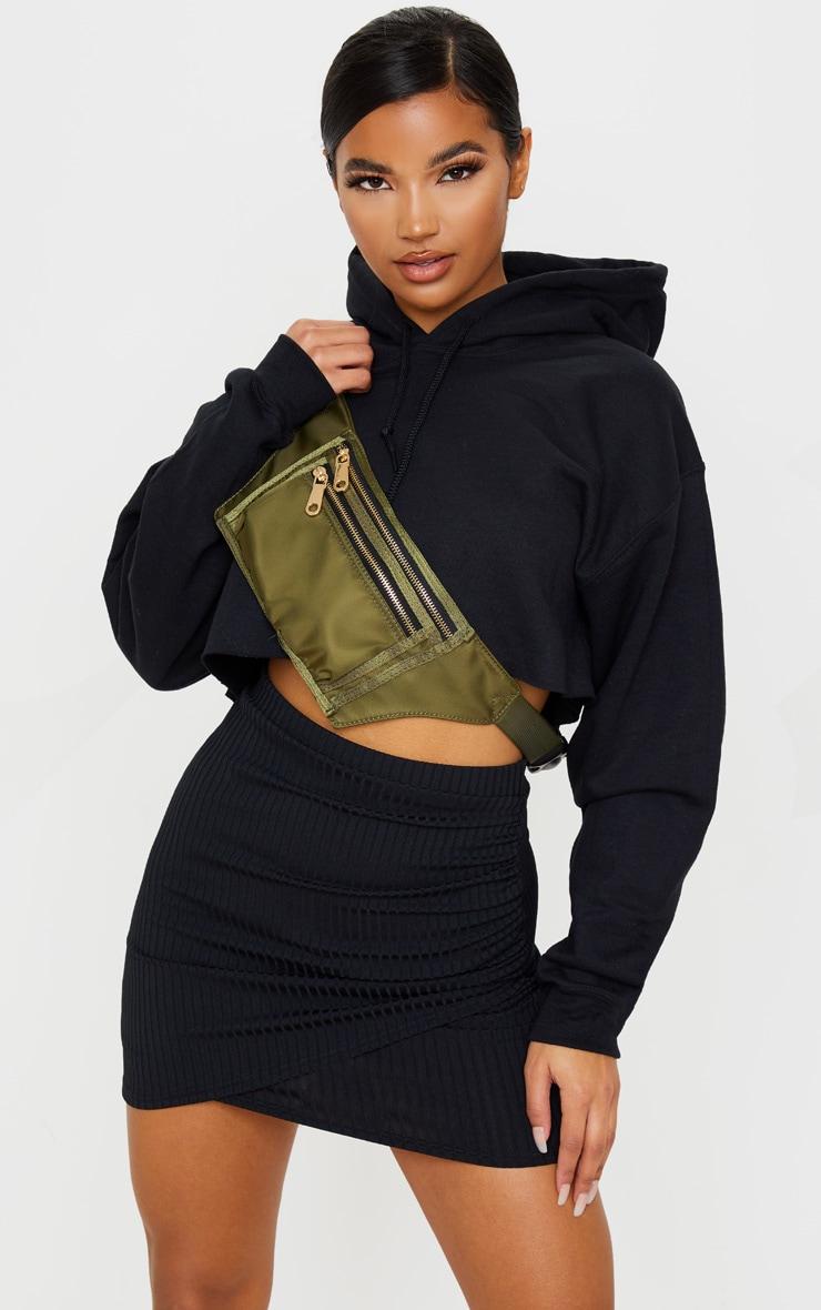 Black Ribbed Ruched Wrap Mini Skirt 1