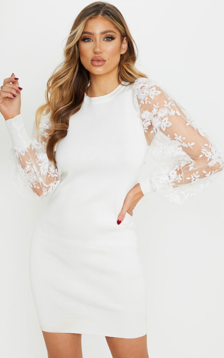 White Embroidered Mesh Sleeve Knitted Dress