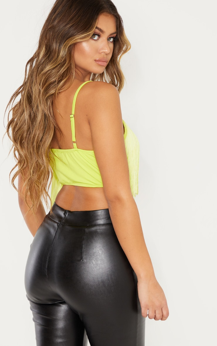 Neon Lime Tassel Trim Sleeveless Crop Top  2