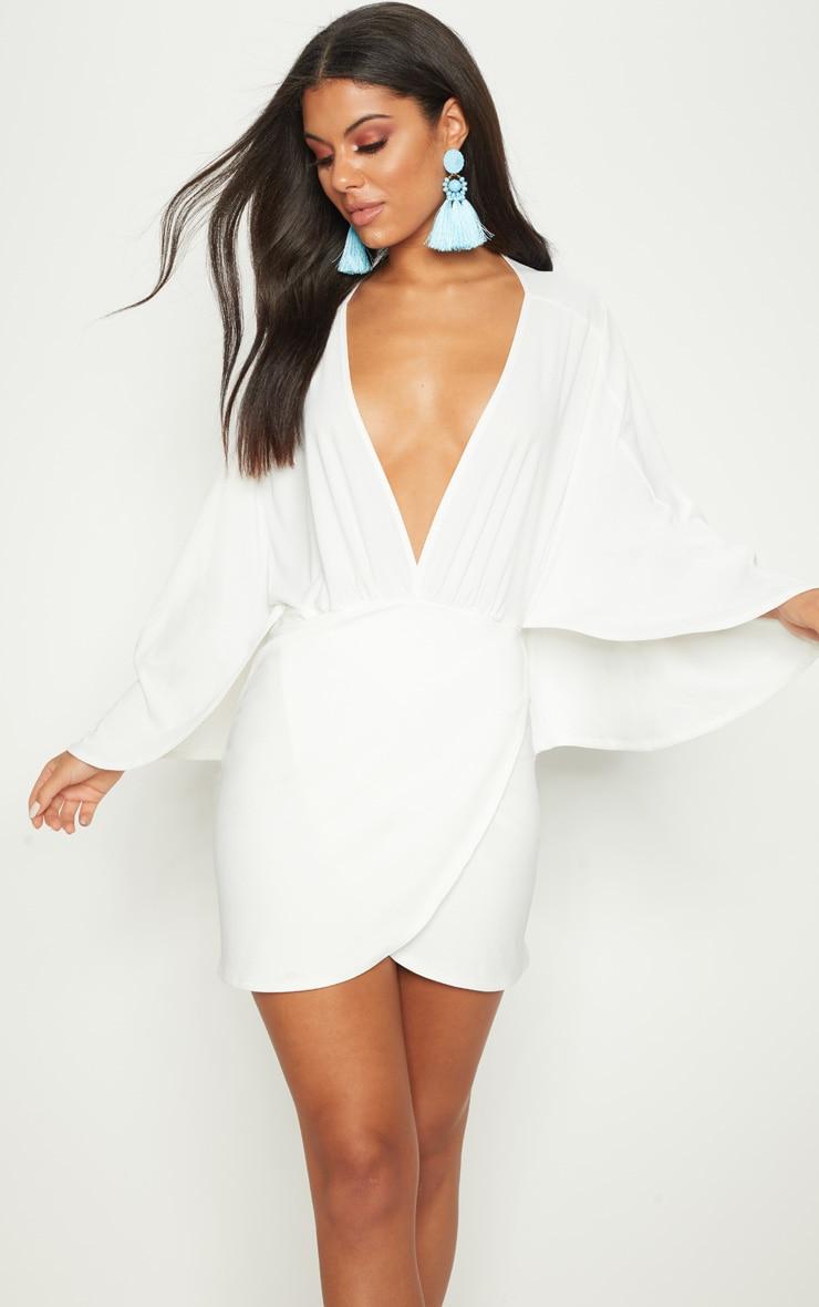 White Plunge Cape Wrap Over Bodycon Dress 1