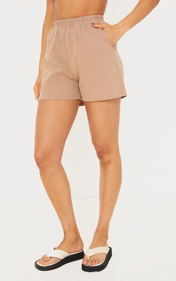 Mocha Textured Woven Elasticated Hem Floaty Shorts 2