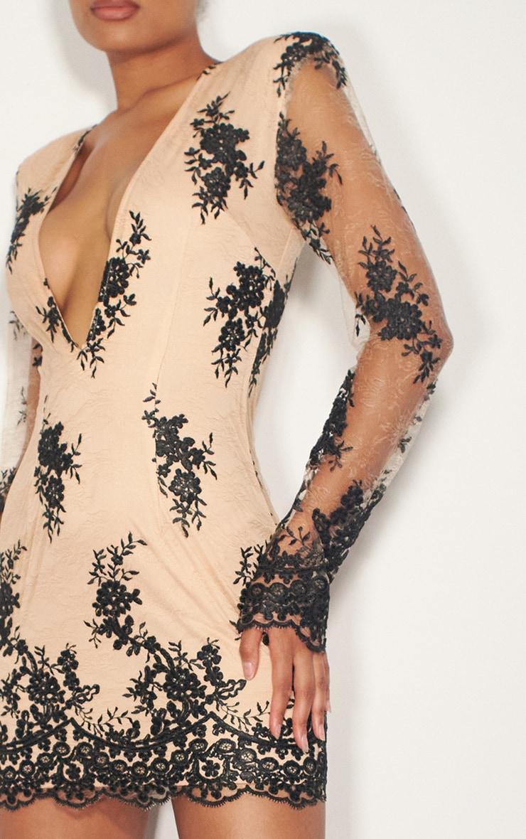Nude Embroidered Lace Long Sleeve Plunge Bodycon Dress 4