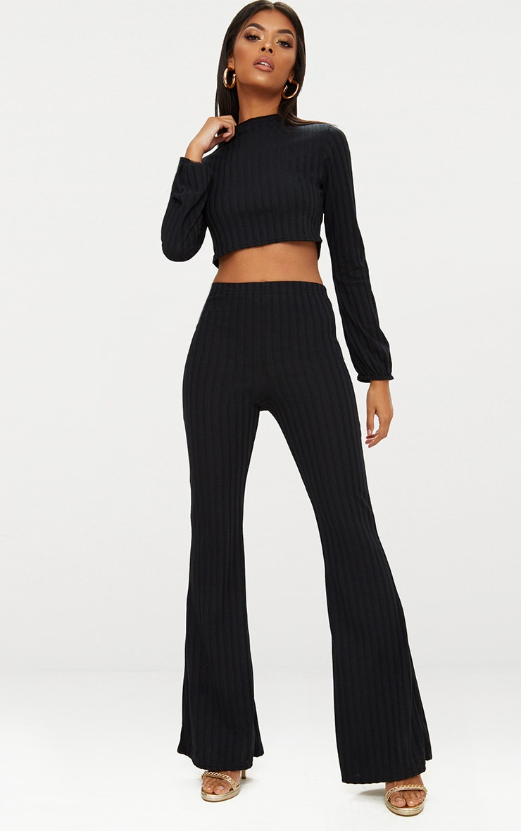 Black Rib Knit Wide Leg Co Ord Set 1
