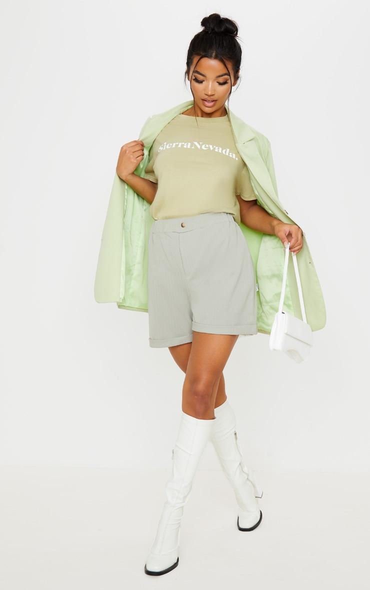 Sage Khaki Turn Up Hem Tailored Short 1