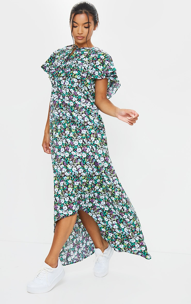 Black Ditsy Floral Print Tie Neck Ruffle Maxi Dress 1