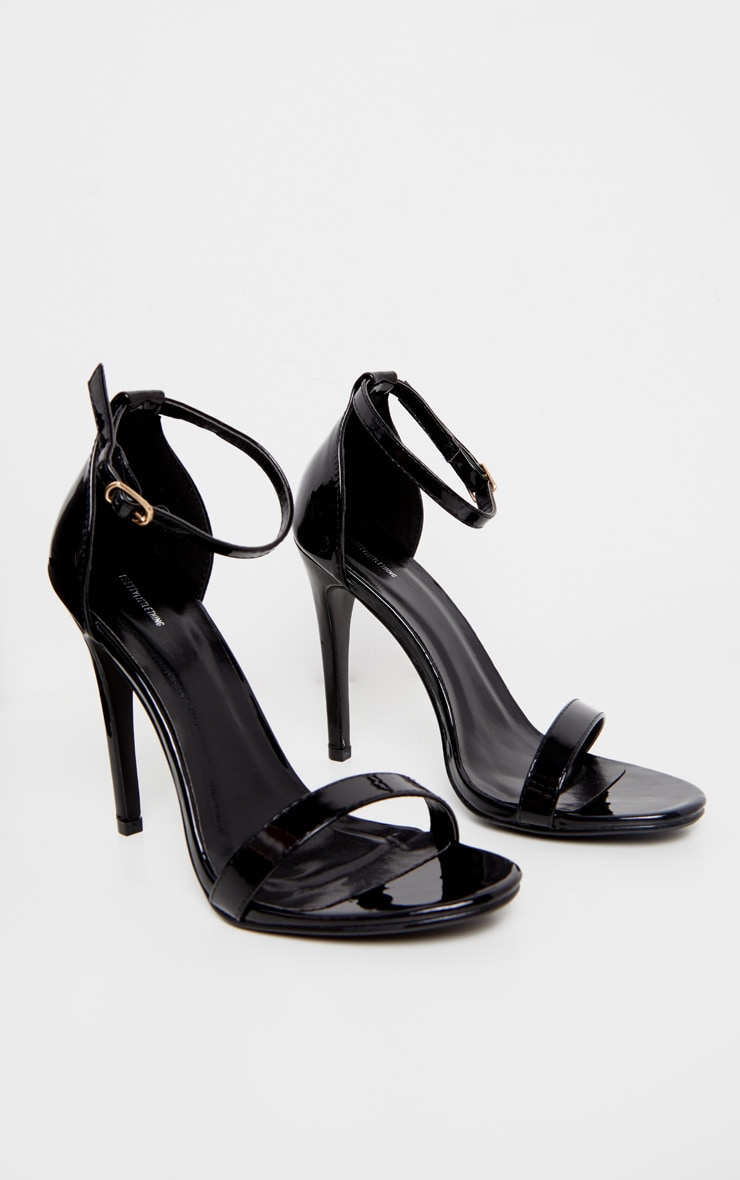 Clover Black Patent Heeled Strappy Sandal 3