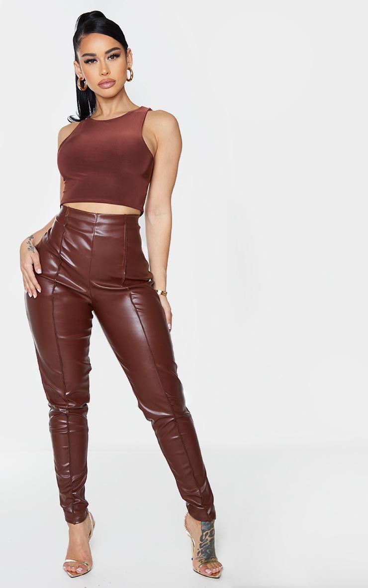 Shape Chocolate Brown PU Seam Detail High Waist Trousers 1