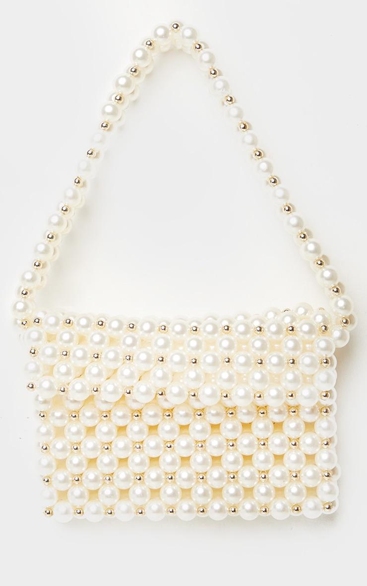 White Pearl Gold Beaded Shoulder Bag 1