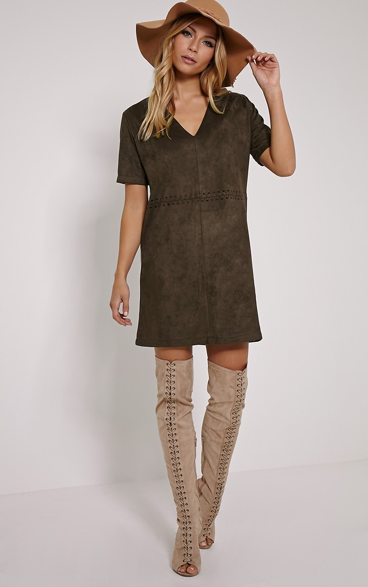 Sina Khaki Stitch Detail Faux Suede Shift Dress 3
