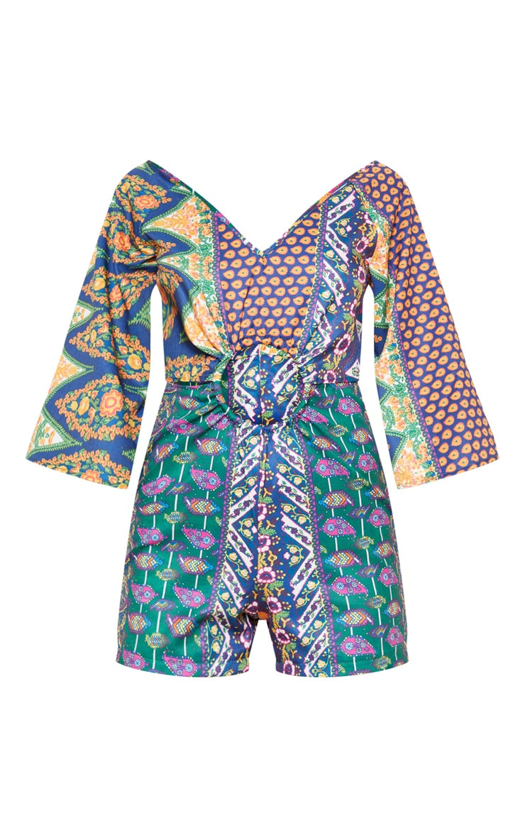 Multi Tribal Print Ring Detail Romper 3