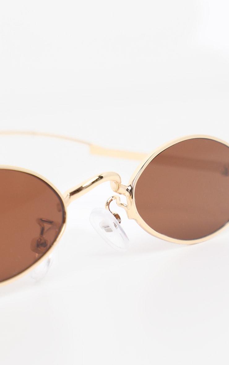 Brown Slim Metal Frame Oval Glasses 4