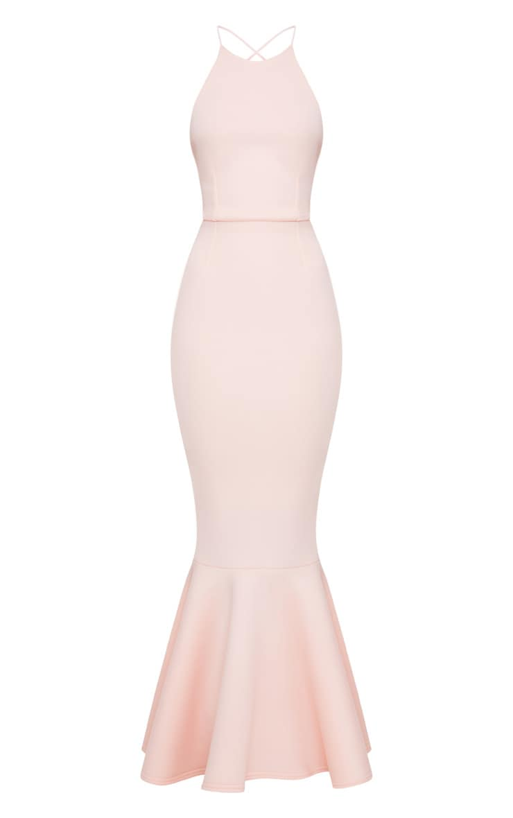 Nude Cross Back Fishtail Maxi Dress 3