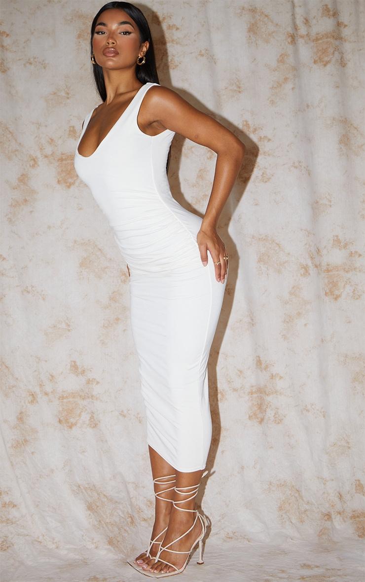 Recycled Cream Contour Jersey Sleeveless Scoop Neck Midaxi Dress 3
