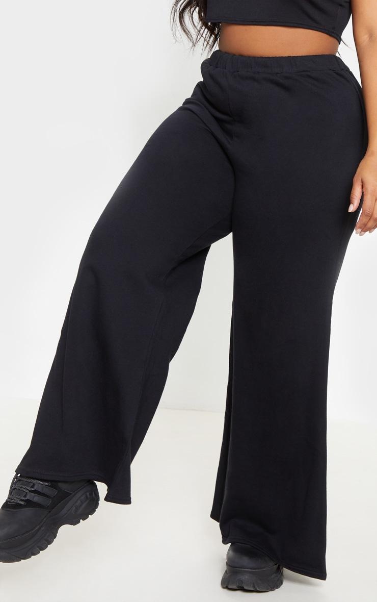 Plus Black Wide Leg Sweat Pants 5