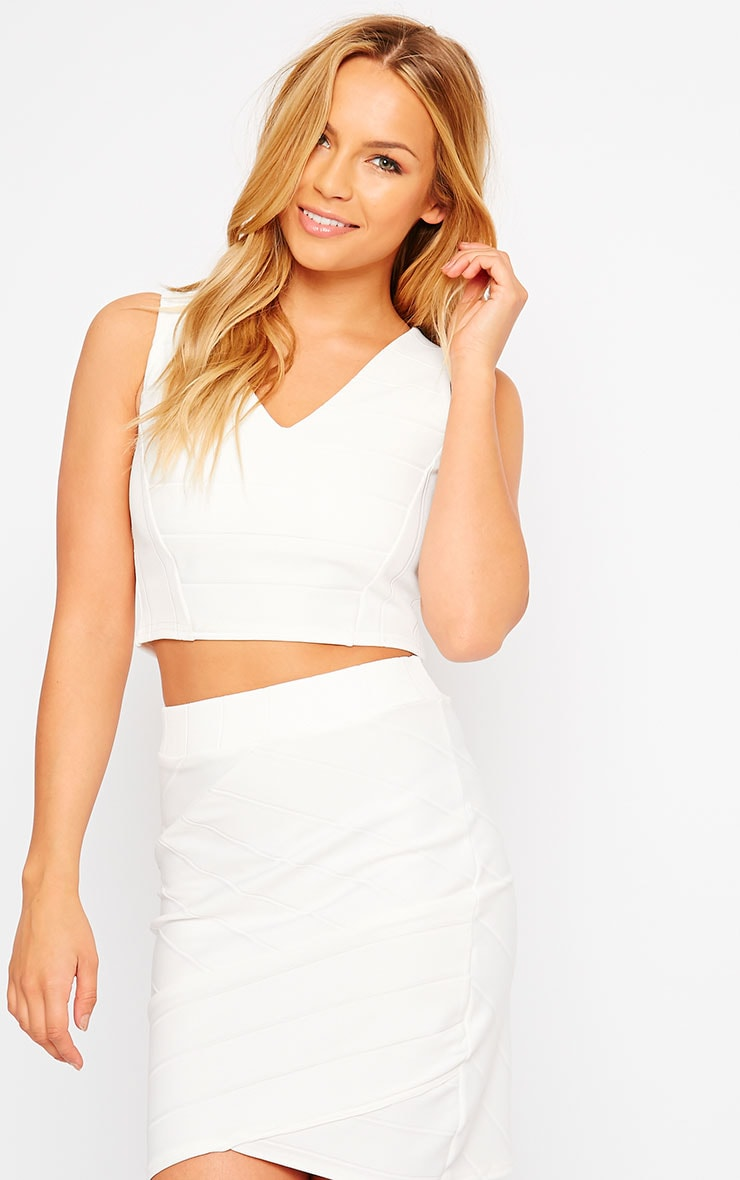 Kirsten Cream Bandage Crop Top 1