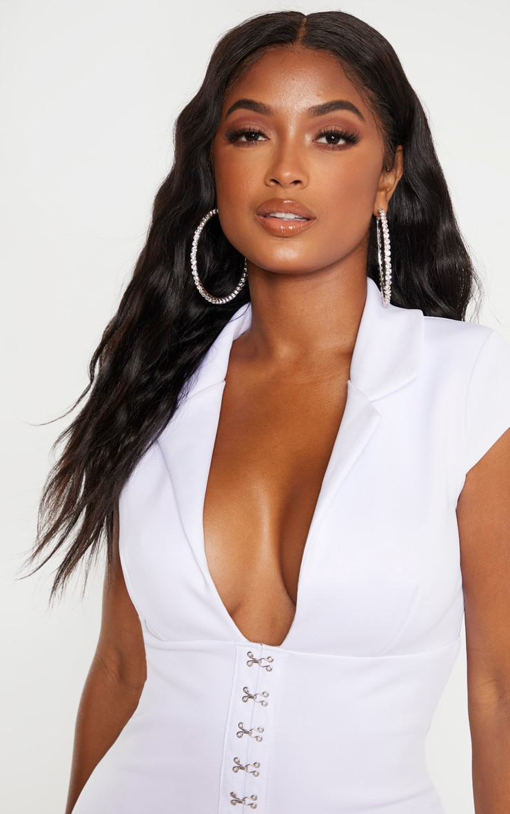 Shape White Collar Detail Hook And Eye Bodycon Dress 5
