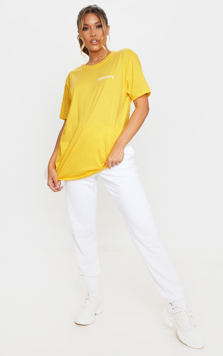 Yellow Moody Slogan T Shirt 3