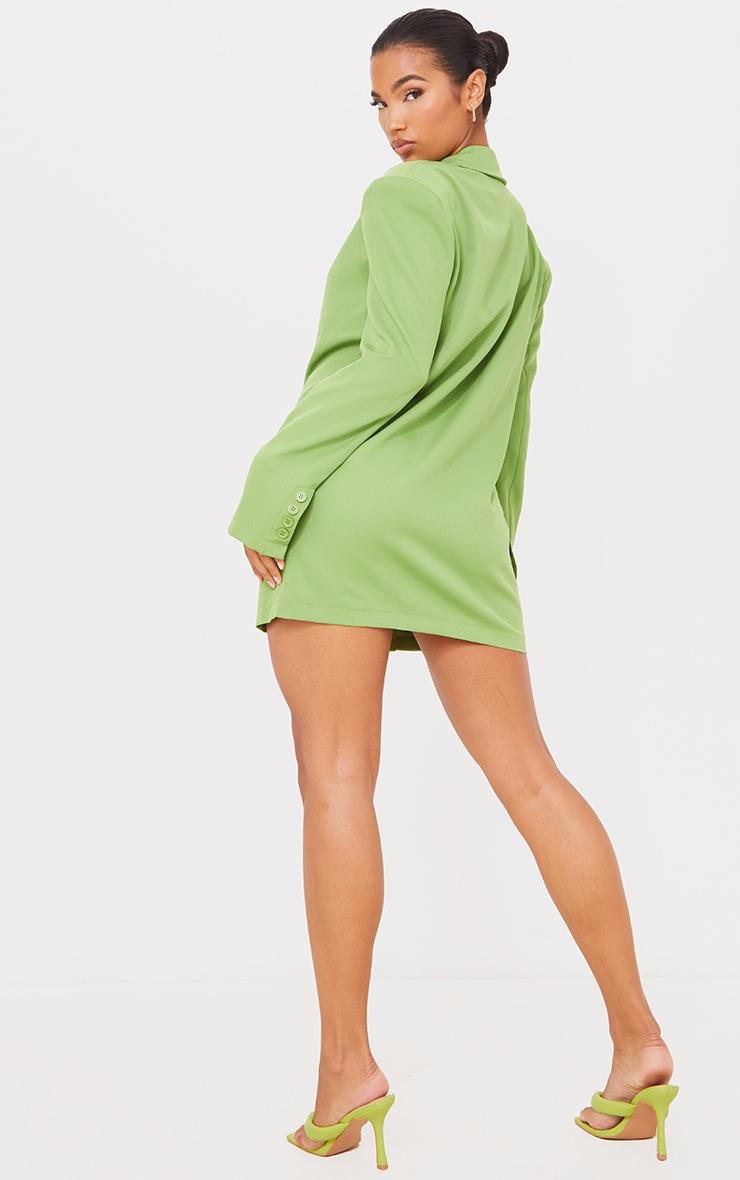 Green Woven Pocket Detail Long Sleeve Blazer Dress 2