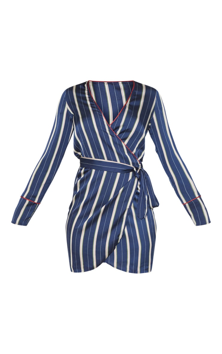 Tall Navy Satin Stripe Wrap Waist Shift Dress 3