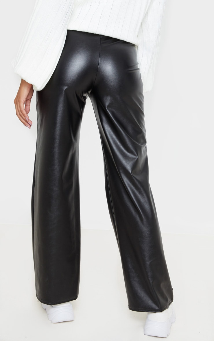 Black Faux Leather Belted Wide Leg Trouser 4