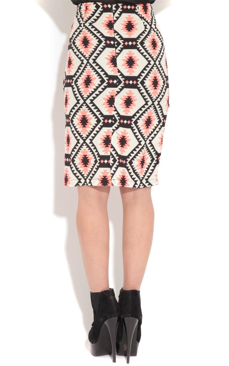 Leila Pink Aztec Print Midi Skirt 1