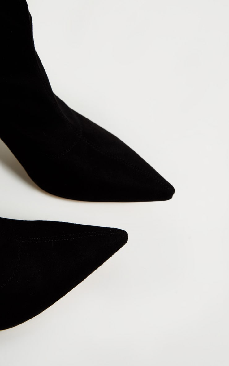 Black Mid Heel Point Ankle Sock Boot 3