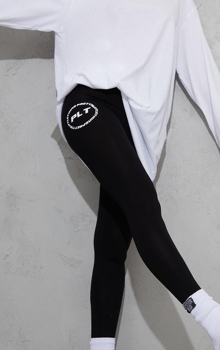 PRETTYLITTLETHING Black Circle Logo Leggings 4