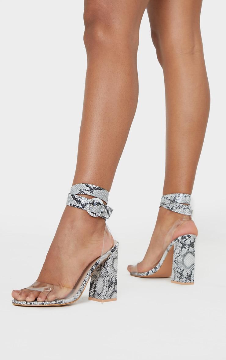 Snake Twist Ankle Strap Block Heel Sandals 2