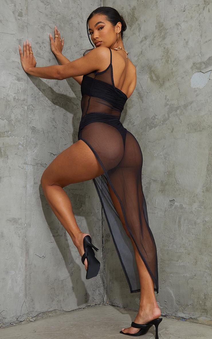 Black Mesh One Shoulder Thigh Split Midaxi Dress 2