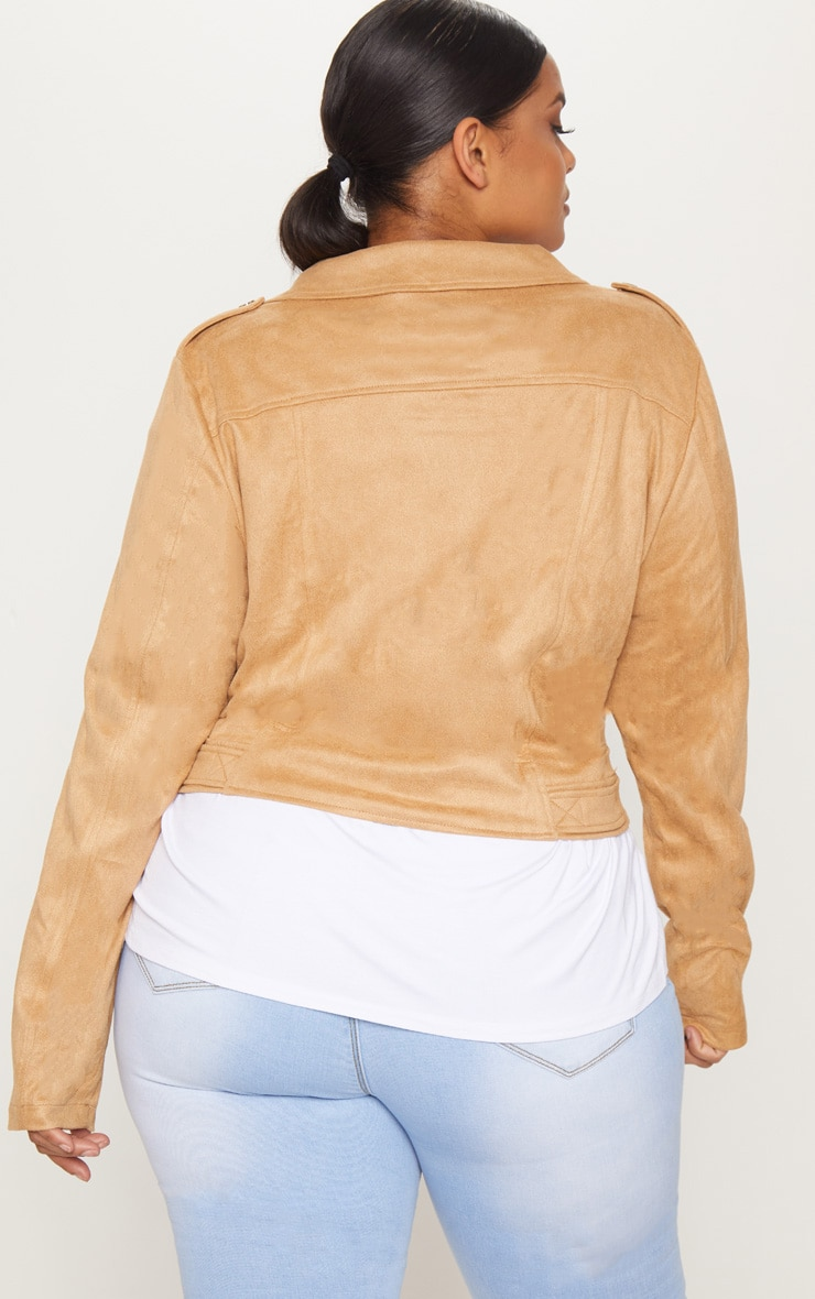 Plus Tan Faux Suede Biker Jacket 2