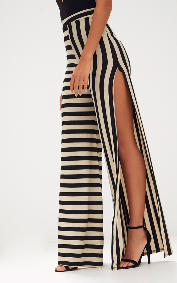 Black Contrast Leg Metallic Stripe Trousers 5