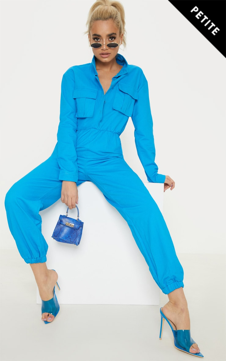 Petite Blue Utility Jogger Jumpsuit by Prettylittlething