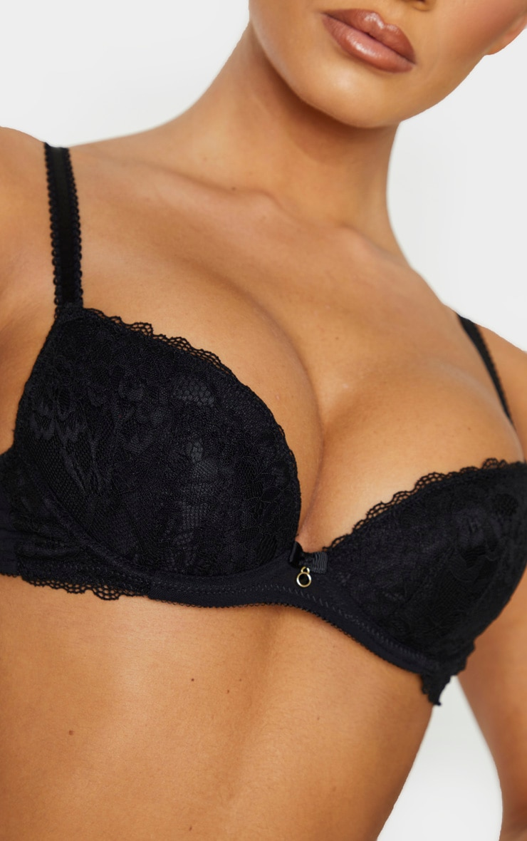 Black Ann Summers Sexy Lace Plunge Bra 4