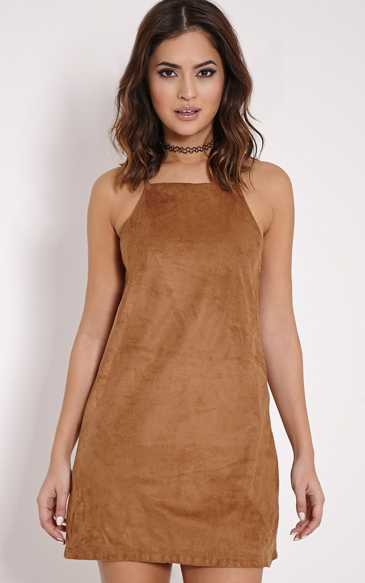 Cammy Tan Faux Suede Bodycon Mini Dress 1