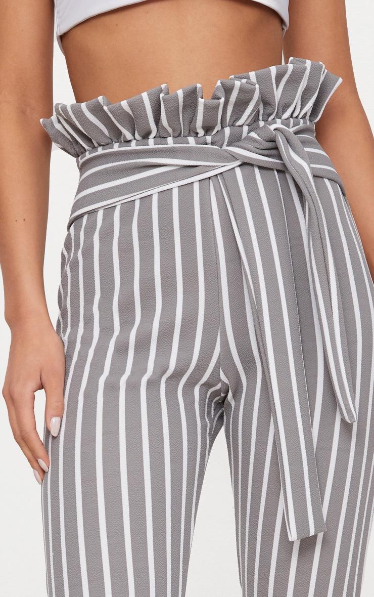 Grey Pinstripe Paperbag Skinny Trousers  5