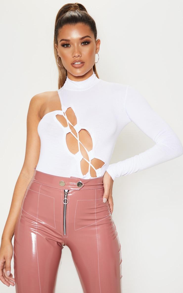 White Jersey One Shoulder Asymmetric Lace Up Bodysuit  1