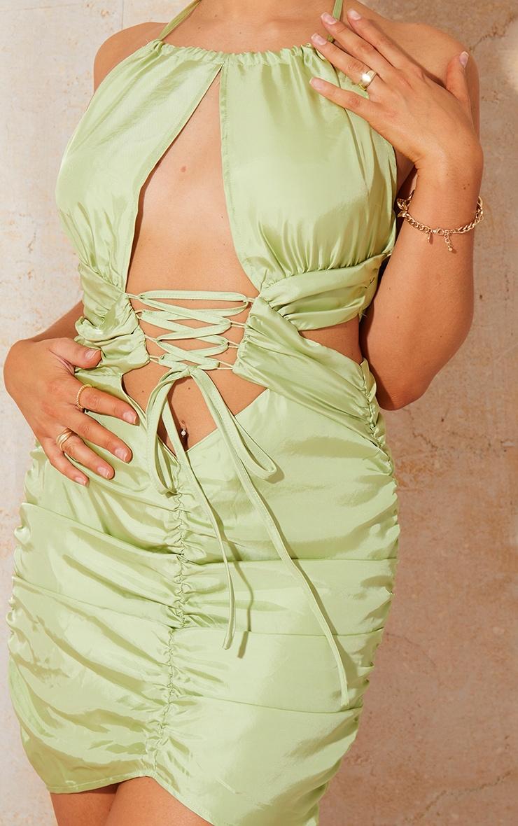 Green Satin Halterneck Lace Up Detail Ruched Midi Dress 4