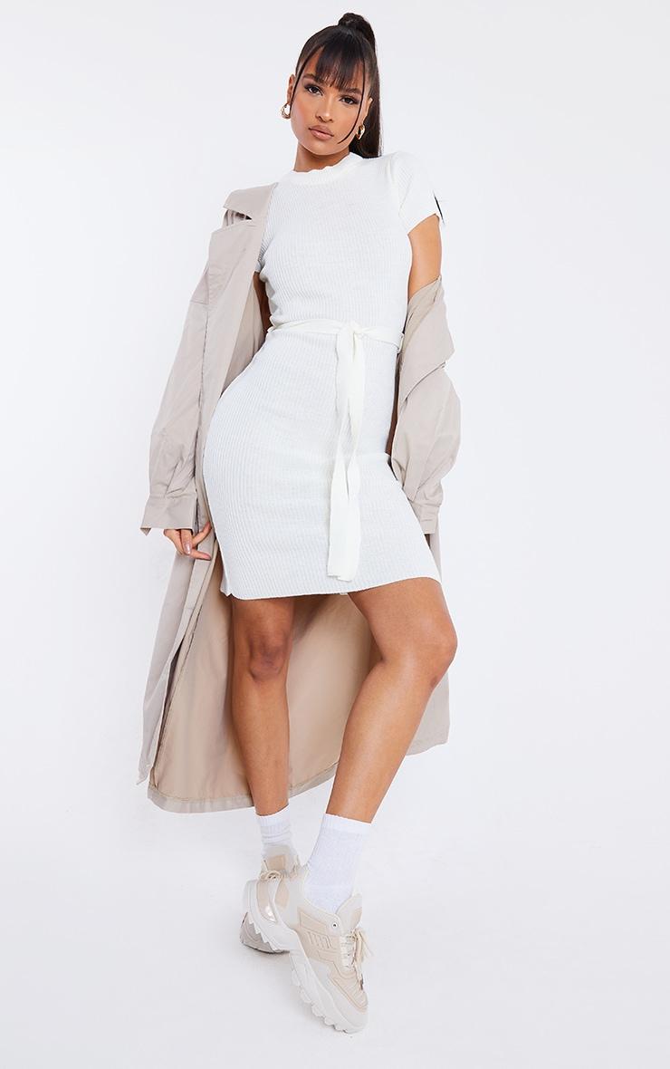 Cream Short Sleeve Belted Midi Dress 3