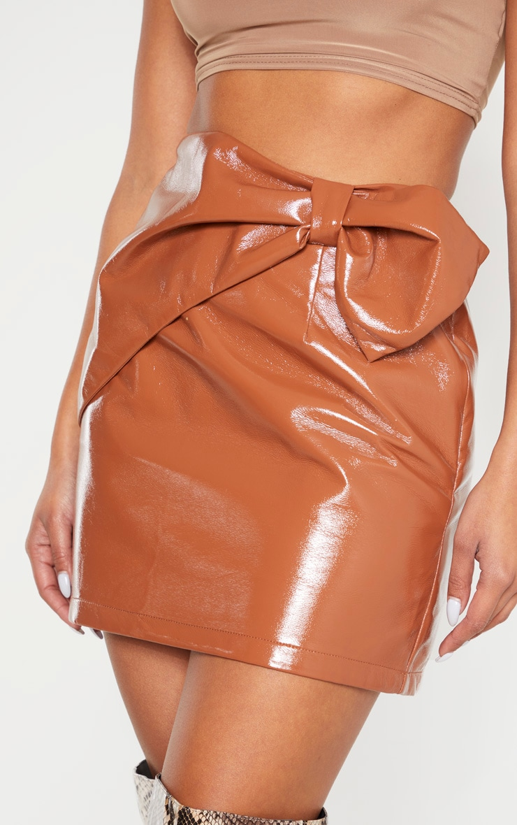 Chestnut Cracked Faux Leather Bow Detail Mini Skirt 6