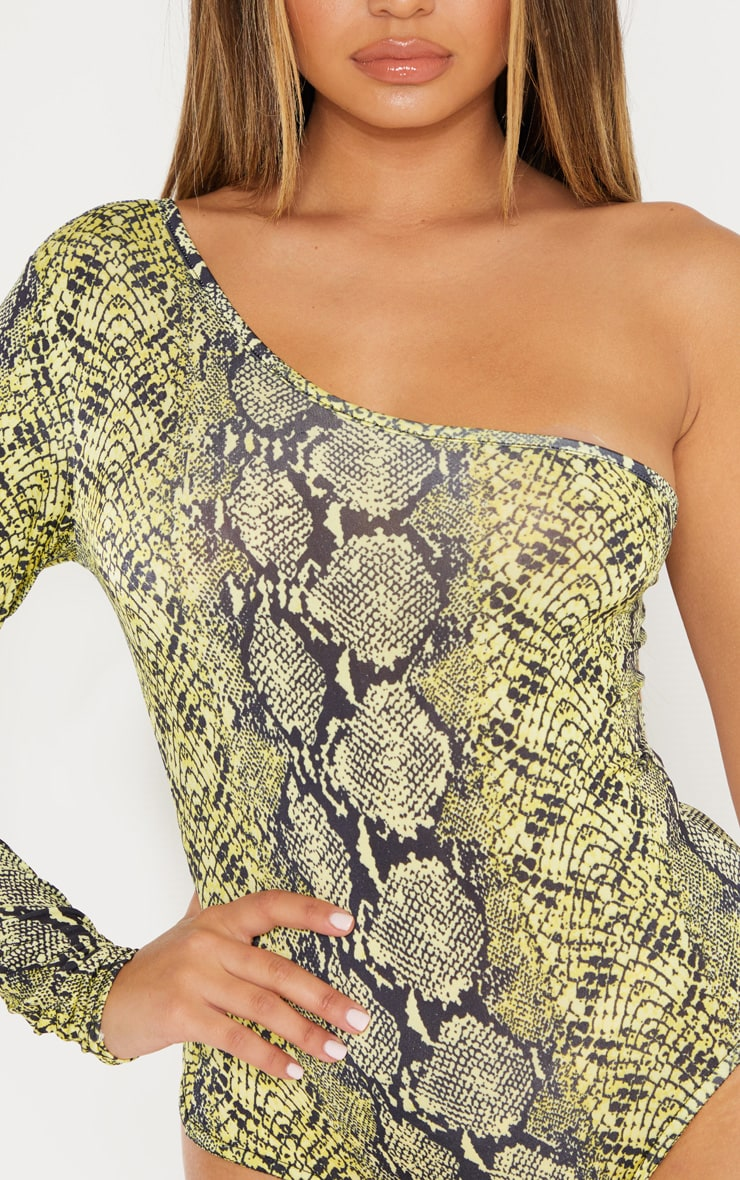 Yellow Slinky One Shoulder Snake Print Bodysuit 5