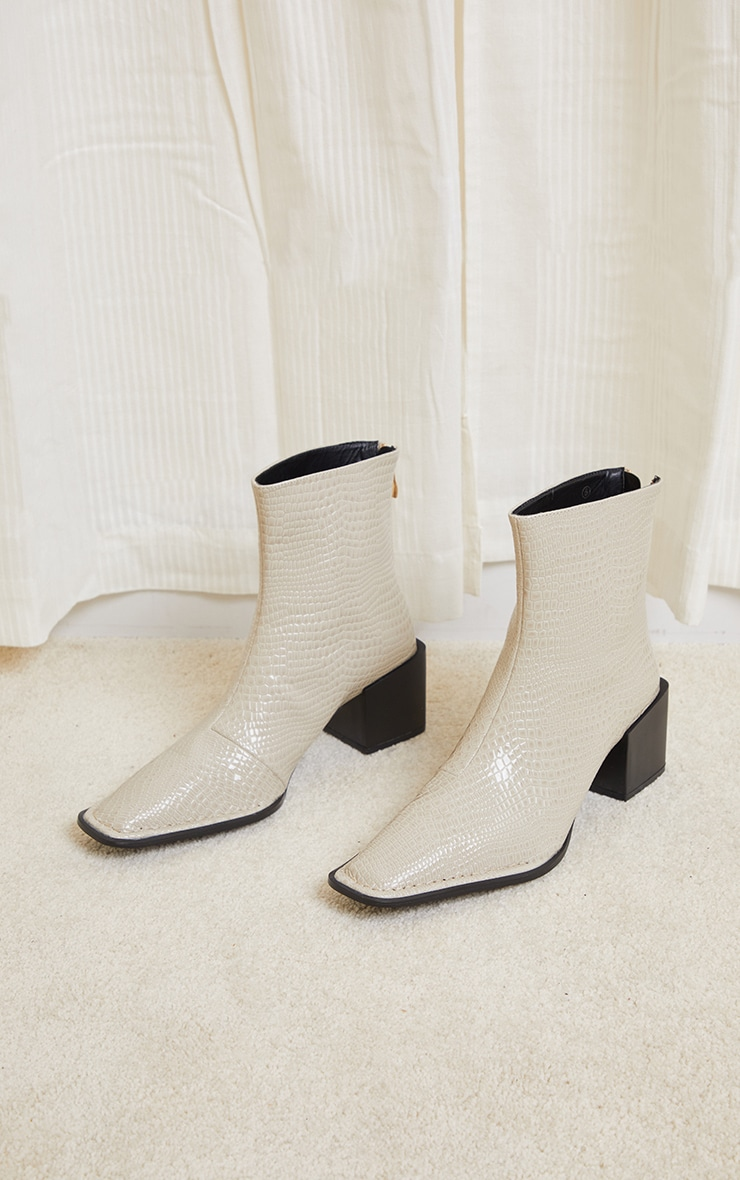 Cream Naked Snake Pointed Square Low Block Heel Ankle Boot 2