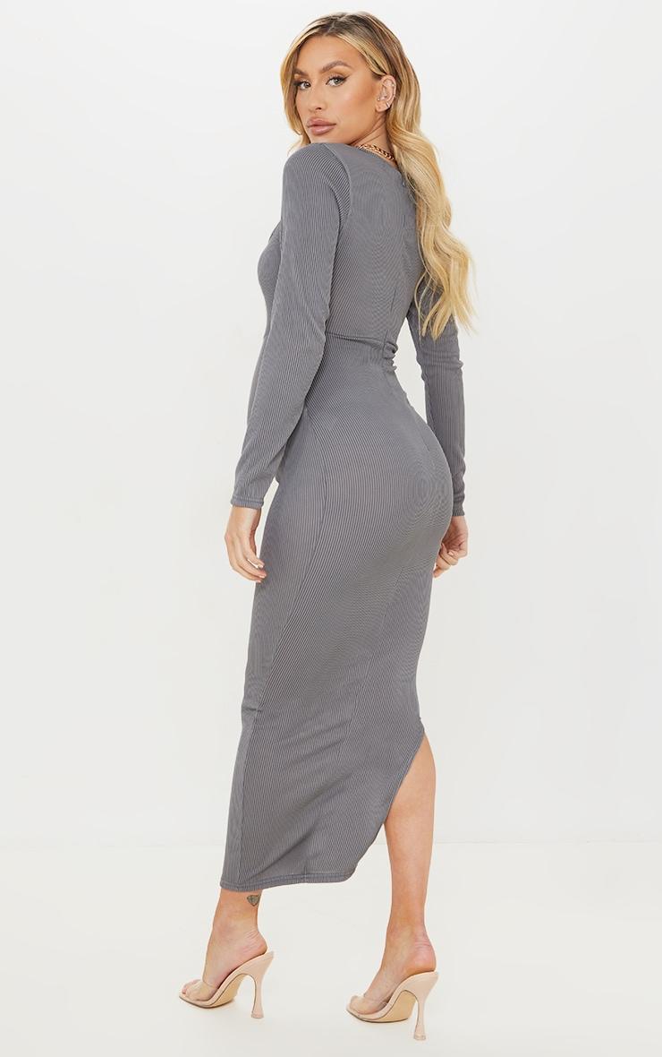 Maternity Slate Ribbed Long Sleeve Side Split Maxi Dress 2