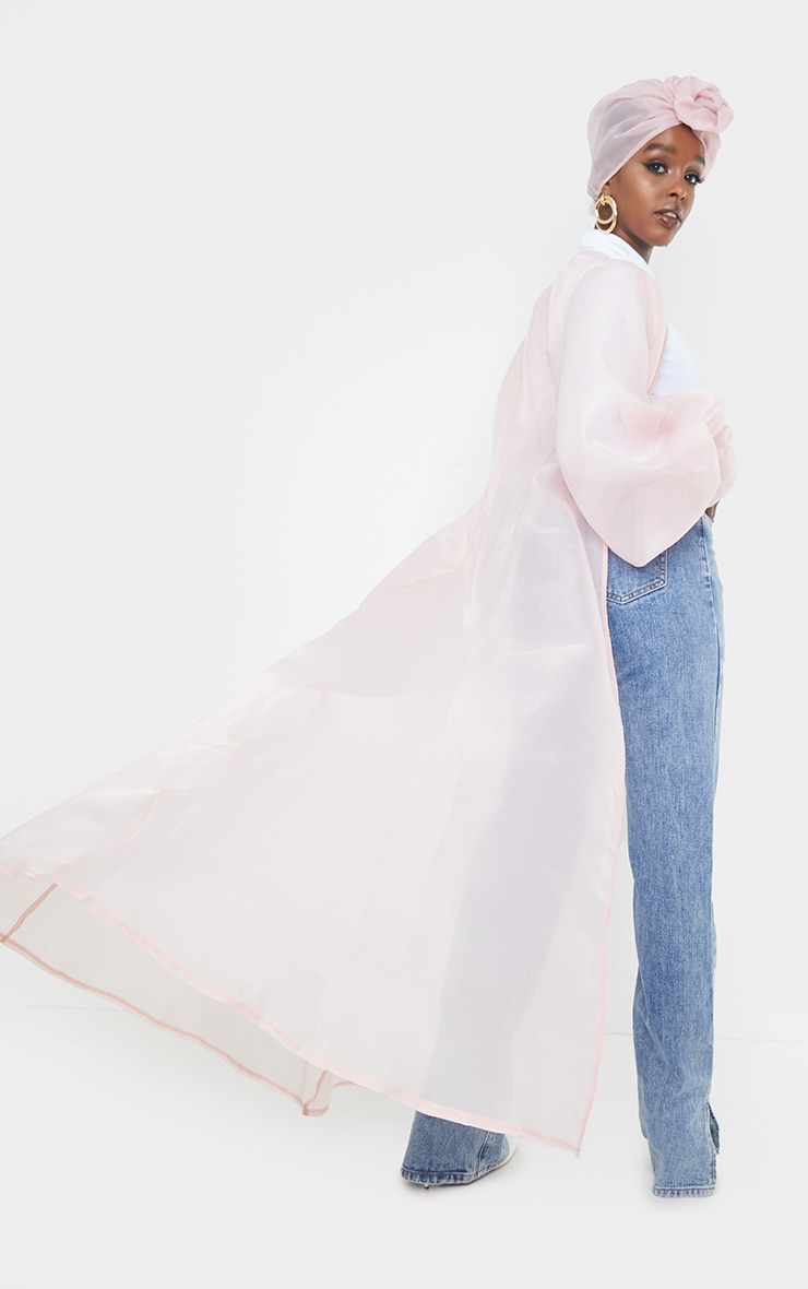 Blush Sheer Organza Balloon Sleeve Maxi Jacket 2