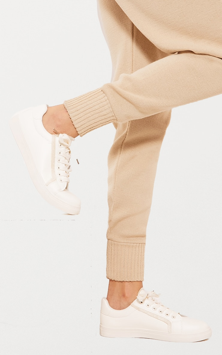 White Frayed Edge Lace Up Trainer