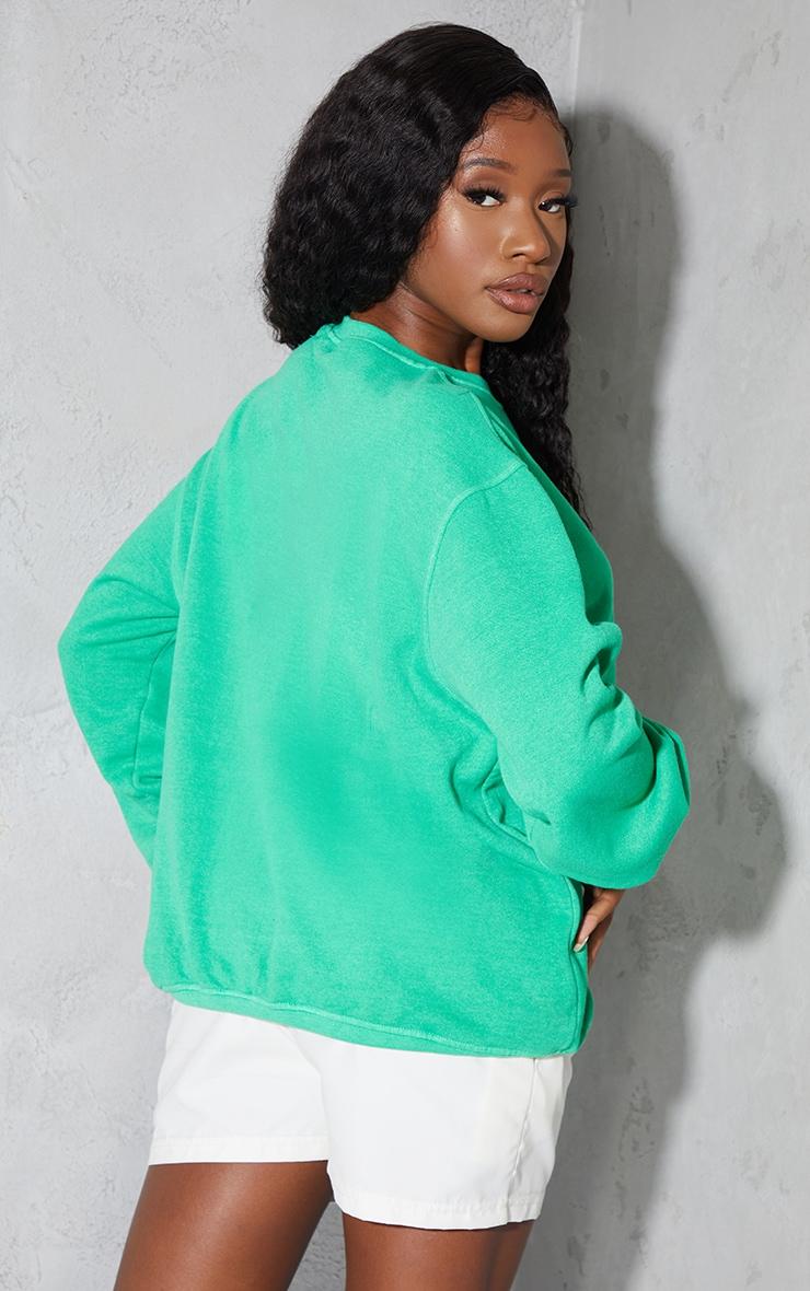 PRETTYLITTLETHING Bright Green Palm Springs Print Sweatshirt 2