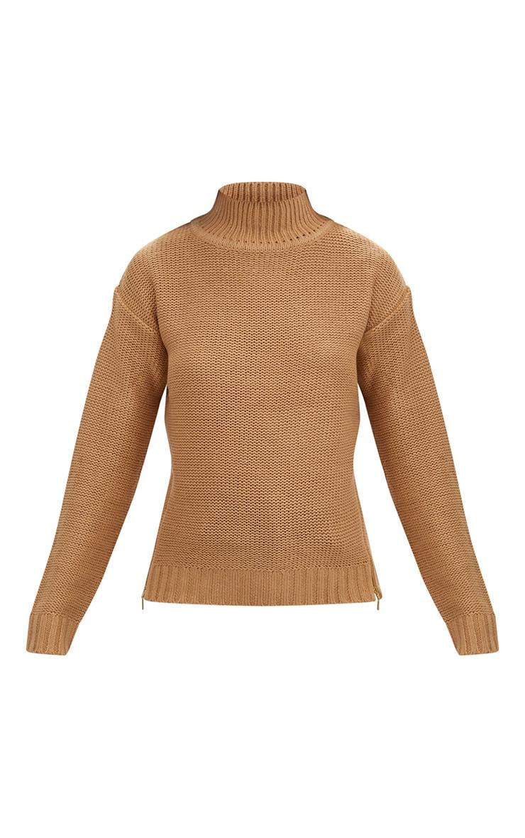 Tan Reverse Knit Zip Detail Jumper 3