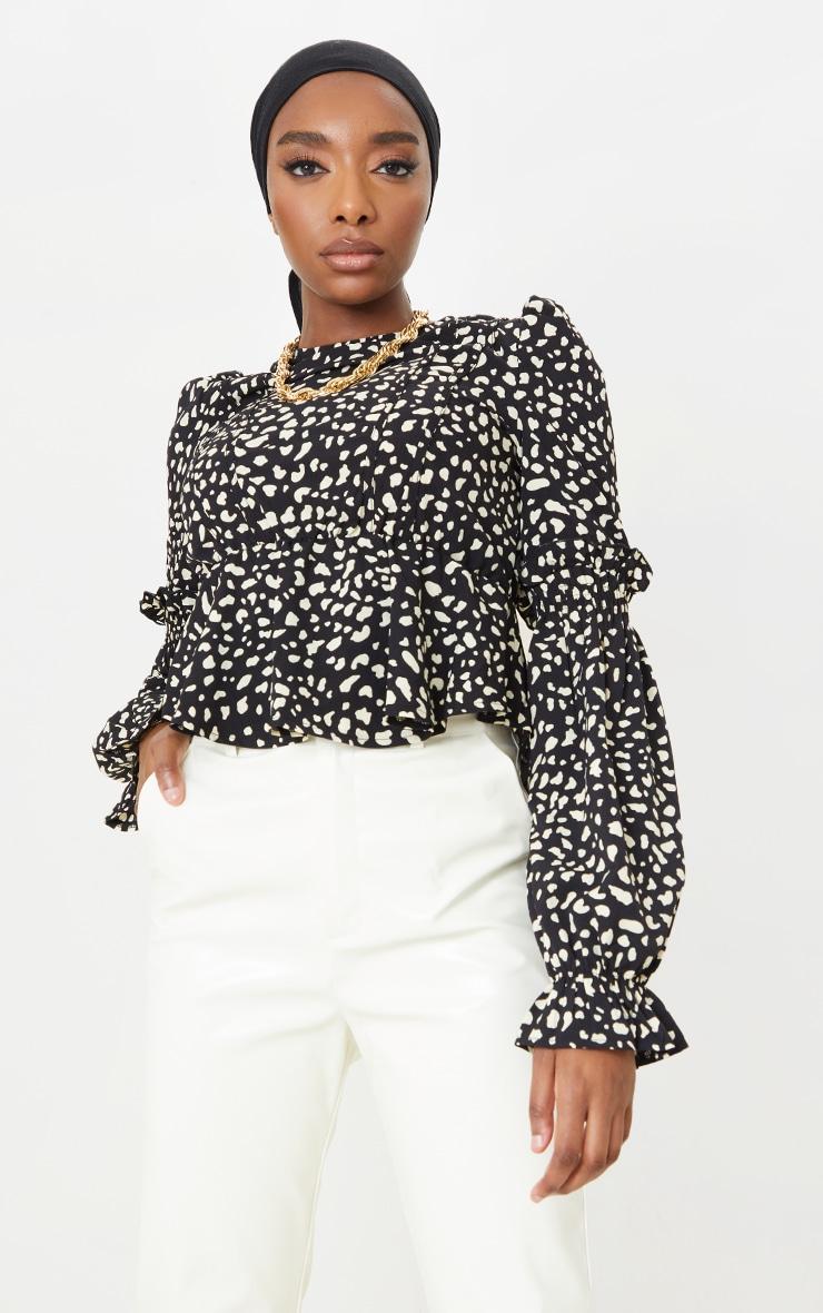 Black Leopard Binding Puff Sleeve Peplum Top 1