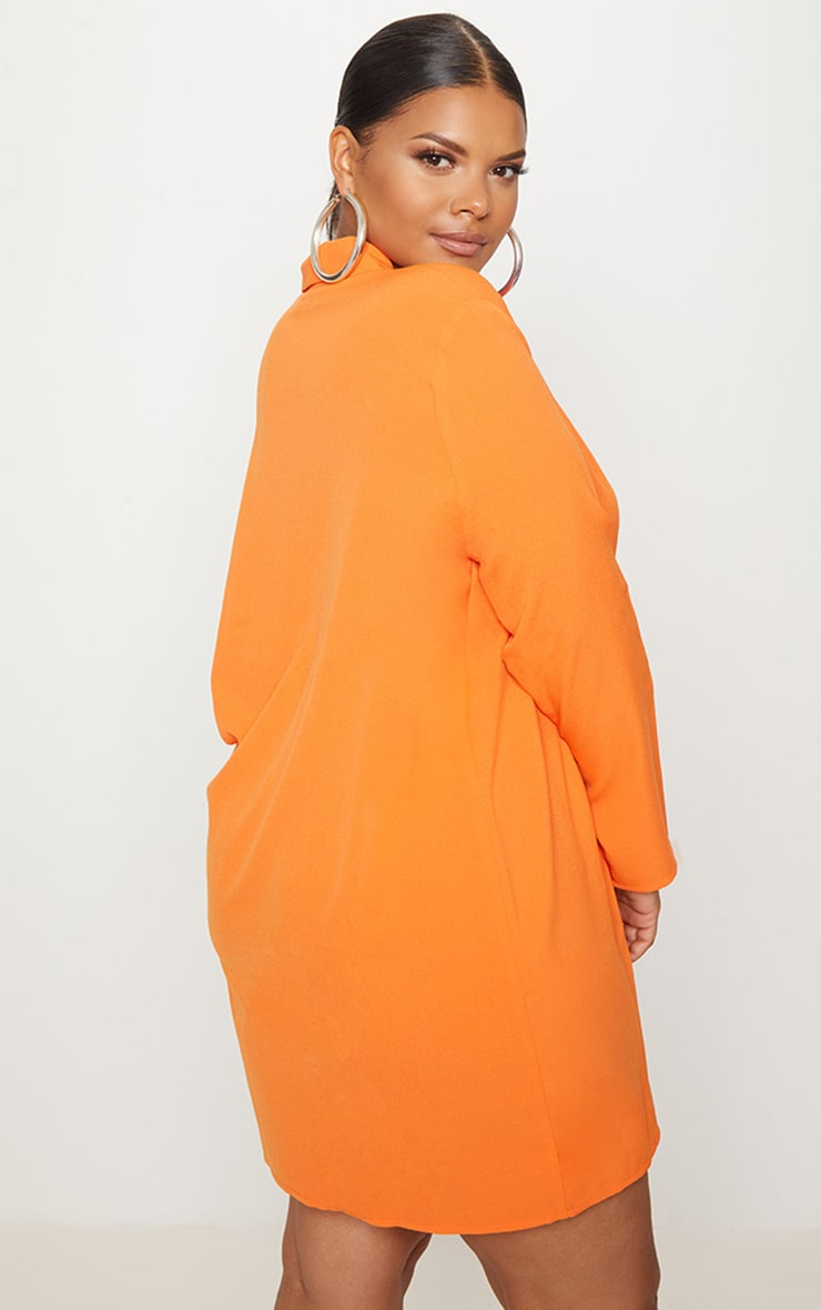 Plus Orange Oversized Blazer Dress 2