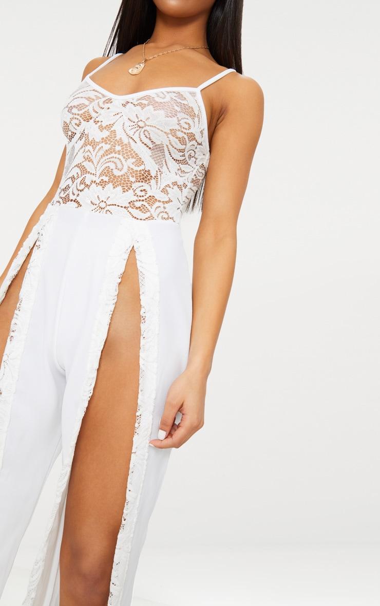 White Lace Top Extreme Split Leg Jumpsuit 5